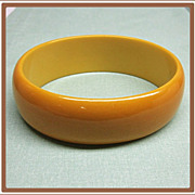 SALE Bakelite Bangle Bracelet Wide Yellow Oval