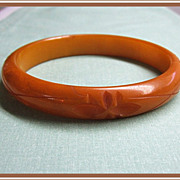 SALE Bakelite Bangle Bracelet Carved Marble Yellow