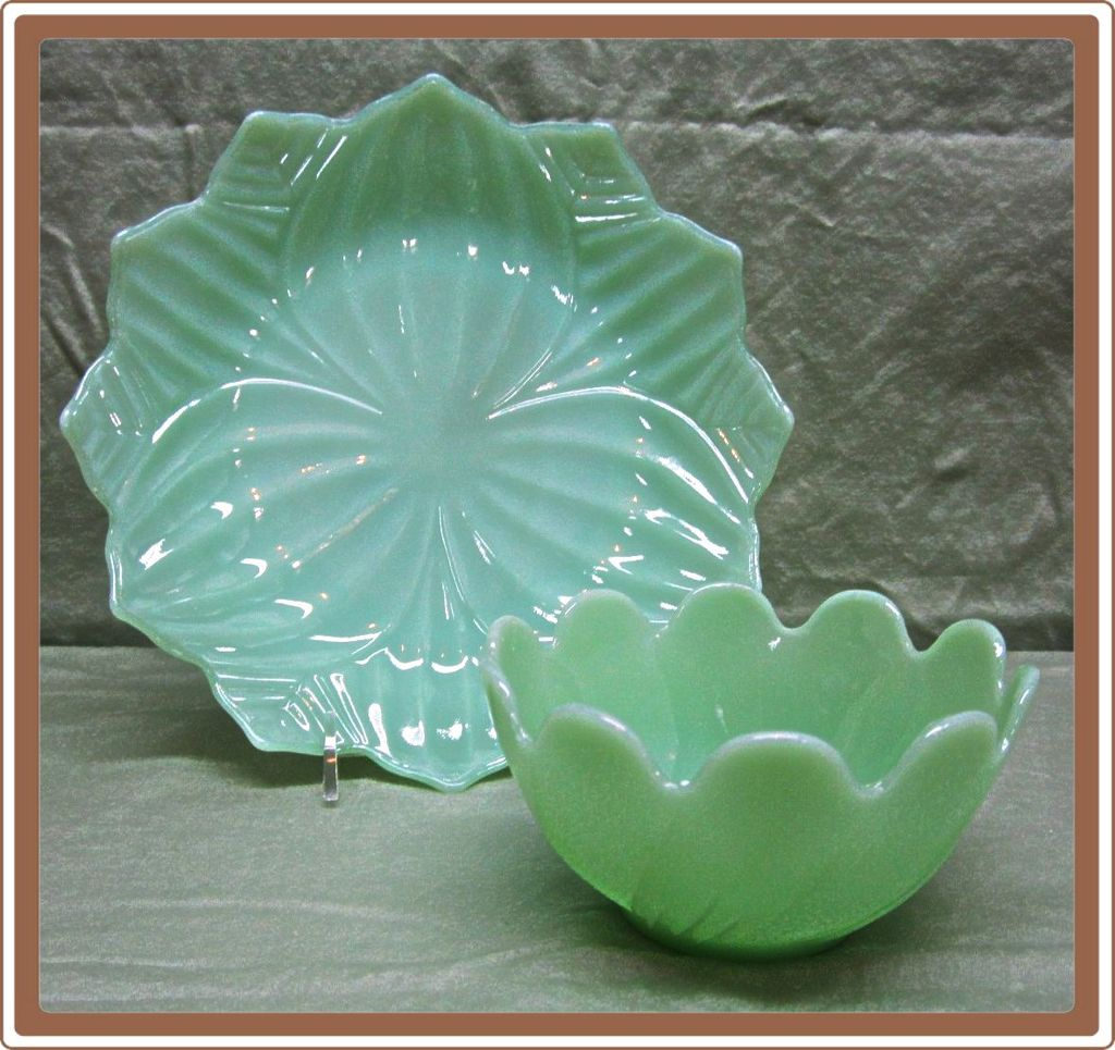Fire King Jadeite Green Leaf and Blossom 2 Pc Set