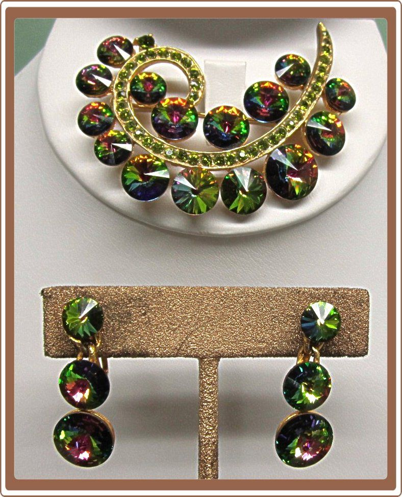 Weiss Watermelon Rivoli Rhinestone Pin and Earrings