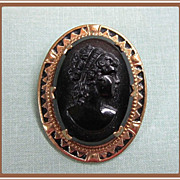 Cameo Black Glass in Edwardian Frame