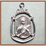Catholic Medal St Therese Little Flower Sterling
