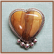 Sterling Silver Petrified Wood Heart Pin