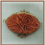 Bakelite Carved Rose Pin set in Filigree Frame