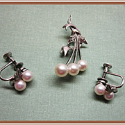 Mikimoto Sterling Silver and Pearl Pin and Earrings