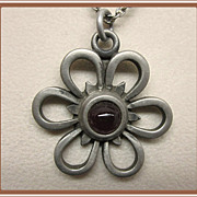 Modernist Pewter Pendant from Sweden Flower Shape