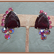 Red Rhinestone Shield Clip Earrings Aurora Borealis
