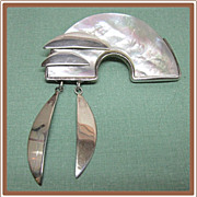 Modernistic Sterling Mother of Pearl Artistic Pin
