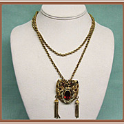 Rhinestone Pendant on Chain Victorian Revival Style
