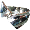 Sterling Silver Bracelet Clamper with Abalone Shell Inlay from Mexico