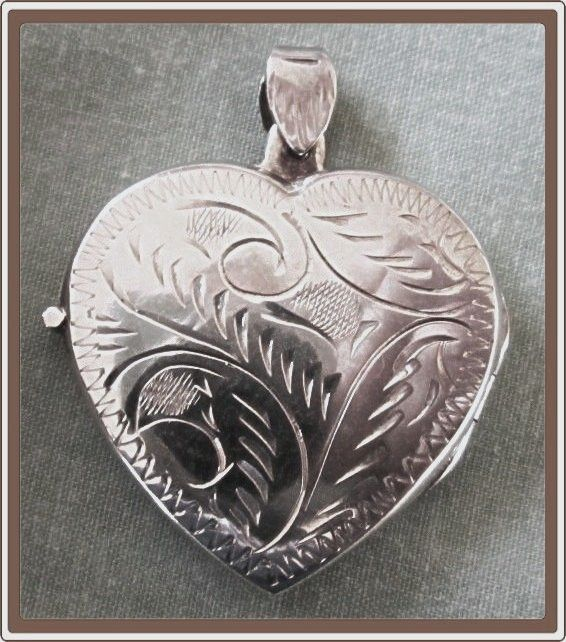 Heart Locket Engraved Sterling Silver