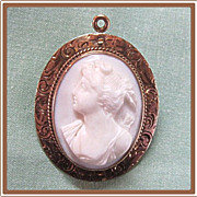 Carved Cameo in 10K Gold Engraved Mounting