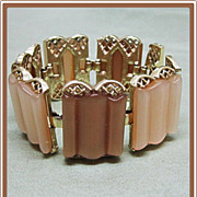 Coro Thermoset Wide Champagne Color Bracelet