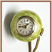 SALE Guilloche Enamel Watch Globe Pendant Ornata Swiss Amerikaner