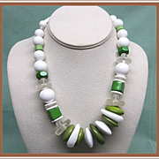 Bakelite Lucite Plastic Chunky Bead Necklace Green and White