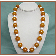 SALE Marbled Yellow Bakelite Bead Necklace