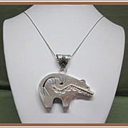 SALE Native American Spirit Bear Pendant Sterling Silver 14K Gold G Perry