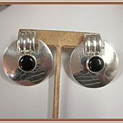 Sterling Silver Onyx Clip Earrings Big Bold and Beautiful