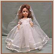 Tiny Terri Lee Hard Plastic Walker Doll Bride Dress