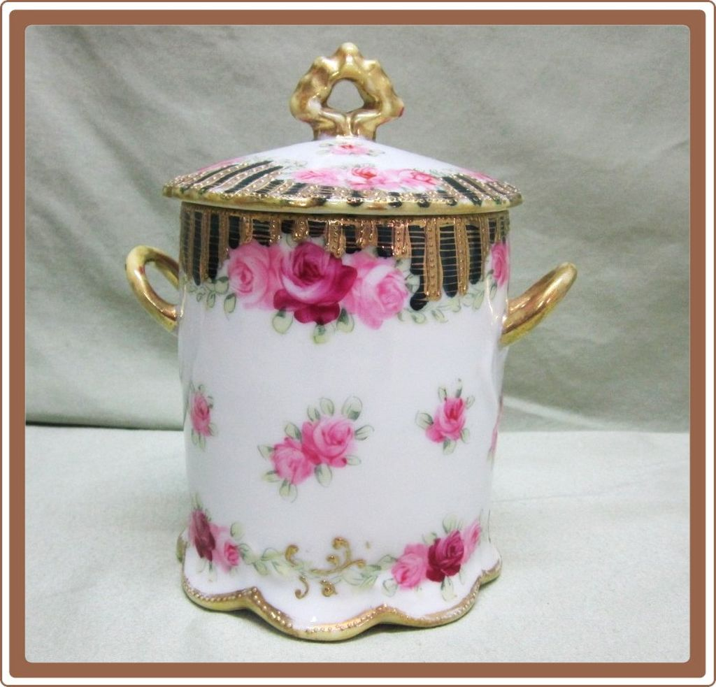 Nippon Hand Painted Porcelain Canned Milk Container