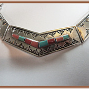 SALE Navajo Sterling Silver Turquoise Necklace Wilbert Muskett Jr