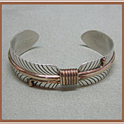 Sterling Feather Cuff Bracelet Native American Les Bennett