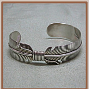 Navajo Sterling Bracelet Feather Cuff Douglas Etsitty