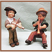 2 Anri Figurines Boys with Instruments