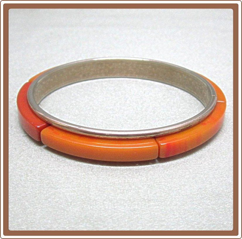 Orange Bakelite and Metal Bangle Bracelet