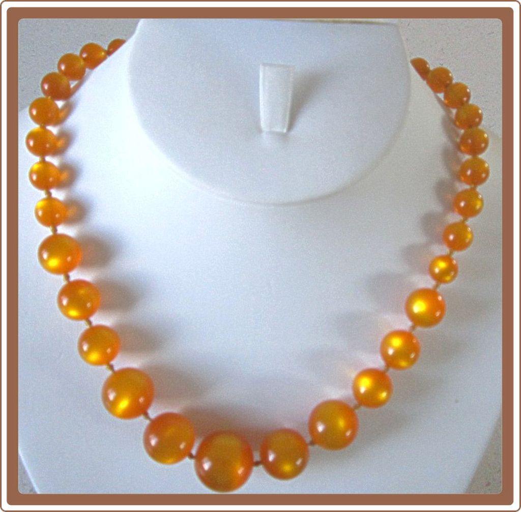 Orange Lucite Moonglow Bead Necklace
