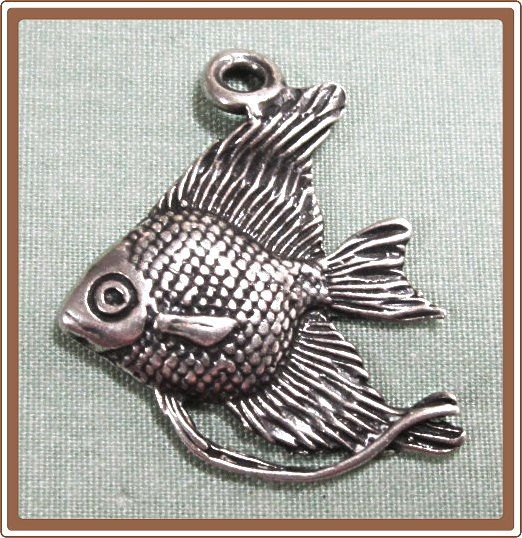 Angel Fish Silver Charm