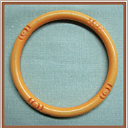 Carved Bakelite Bangle Spacer Ivory Color