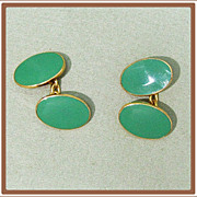 SALE Vintage Paul Stuart Men's Apple Green Enamel Cufflinks