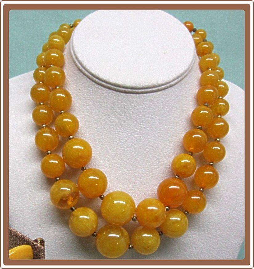 Retro Yellow Plastic Double Strand Bead Necklace