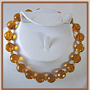 Old Faceted Amber Glass Bead Necklace