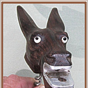 SALE Donkey Mule Corkscrew Figural Carved Wood Glass Eyes