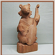 Carved Wood Russian Bear Playing Bass Fiddle