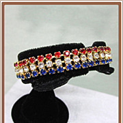 Patriotic Rhinestone Bracelet and Earrings Red White and Blue