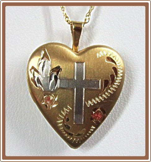 Heart Locket Gold Filled with Cross Engraving