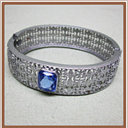 Art Deco Filigree Wide Bracelet Set with Blue Stone