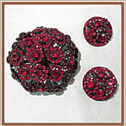 Warner Red Black Japanned Rhinestone Pin and Earrings