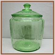 Cameo Depression Glass Cookie Jar Green