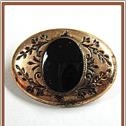 Victorian Gold Filled Onyx Pin