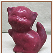 Van Briggle Kitten Pottery Figurine Persian Rose