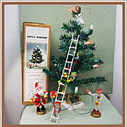 Christmas Santa's Workshop Tinsel Tree Elves In Original Box