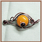 Sterling  Silver Amber Modernist PIn from Poland