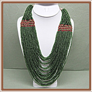 SALE Multi Strand Torsade Green Glass Bead Necklace
