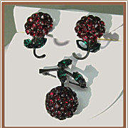Warner Cherry Red Rhinestone Pin and Earrings with Leaves