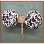 Big Bold Sterling Silver Clip Earrings from Israel
