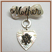 U S Army Sweetheart Pin Mother of Pearl Heart